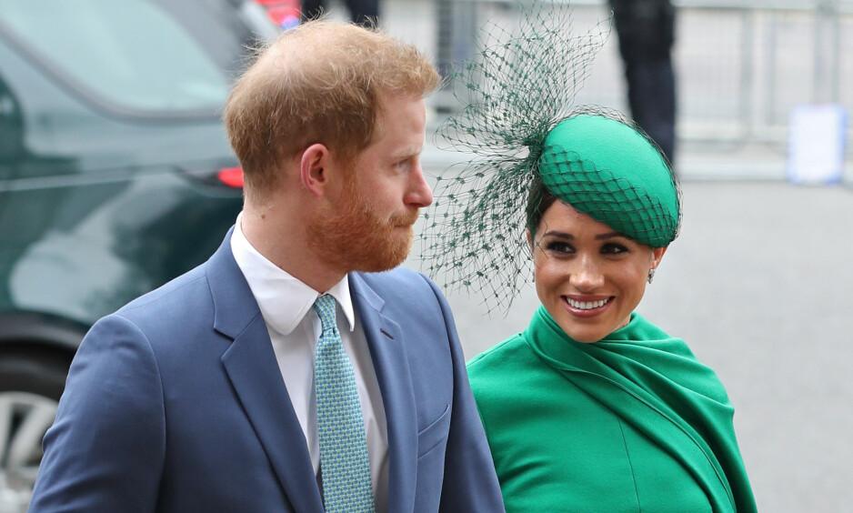 SISTE OPPDRAG: Hertuginne Meghan og prins Harry strålte under sitt siste oppdrag, som skjer i anledning markeringen av Commonwealth Day. Foto: NTB Scanpix
