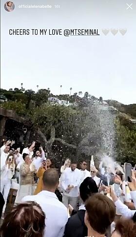 SKÅL: Ektemannen ble feiret med en gigantisk skål. Foto: Skjermdump Instagram