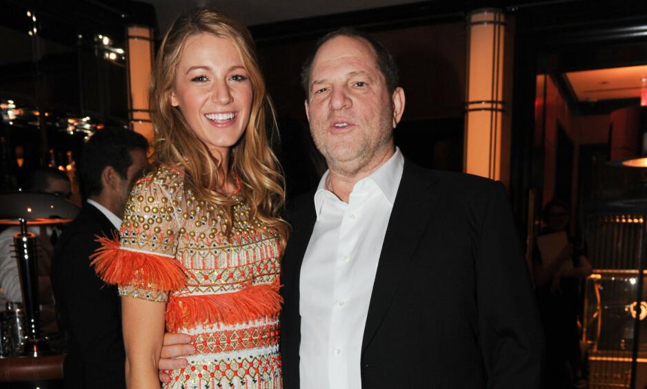 DØMT: Harvey Weinstein er dømt til 23 års fengsel for overgrep. Her avbildet med skuespiller Blake Livley i 2011, før anklagene mot Weinstein rullet ut i offentligheten. Foto: NTB scanpix