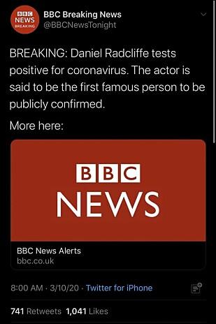 FALSK NYHET: Denne Twitter-meldingene gjorde mange fans bekymret for Daniel Radcliffe. Foto: Skjermdump