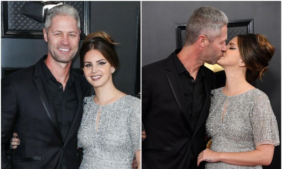 DEN GANG DA: I januar strålte Lana del Rey og kjæresten Sean Larkin sammen på den røde løperen under Grammy Awards. Foto: NTB Scanpix