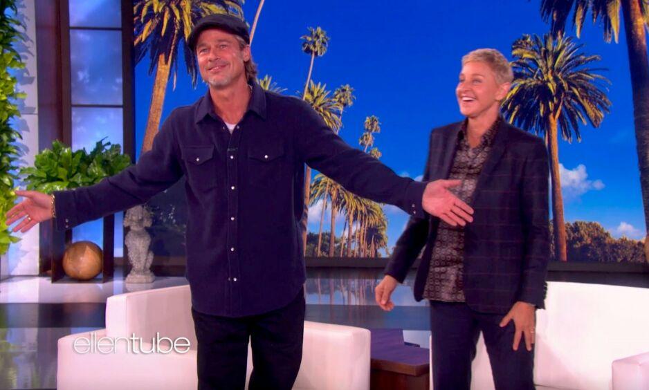 KRITIKK: Etter at komiker Kevin T. Porter oppfordret følgerne sine til å dele historier om talkshow-verten Ellen DeGeneres, tok flere til tastaturet for å komme med de verste opplevelsene de har hatt med henne. Her i studio sammen med Brad Pitt. Foto: NTB Scanpix