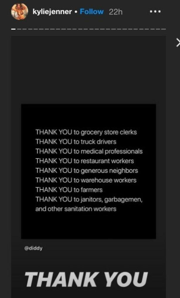TAKKET: Tirsdag sendte Kylie en takk til en rekke yrkesgrupper og folk som stiller opp for andre. Foto: Instagram/ Kylie Jenner