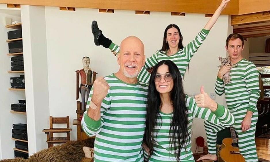<strong>SAMMEN:</strong> Fansen jubler over dette bildet av Bruce Willis og Demi Moore. Foto: Instagram / @buuski