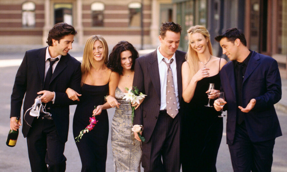 SAMLES: «Friends»-skuespillerne David Schwimmer, Jennifer Aniston, Courtney Cox, Matthew Perry, Lisa Kudrow og Matt LeBlanc dukker atter opp på skjermen samlet. Når det blir, er derimot ukjent. Foto: NTB scanpix