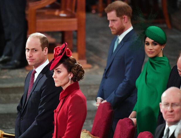ANSTRENGT STEMNING: Det virket ikke som at det bare var god stemning mellom hertugparene i begynnelsen av mars. Her i Westminster Abbey i anledning Commonwealth Day. Foto: NTB scanpix