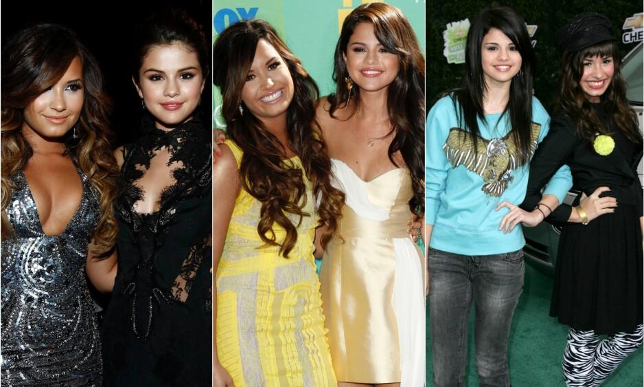 VAR NÆRE VENNINNER: I 2011 var Demi Lovato og Selena Gomez sammen på både MTV Video Music Awards og på Teen Choice Awards. På bildet helt til høyre deltok de sammen på et annet event i Los Angeles tre år tidligere. Foto: NTB Scanpix
