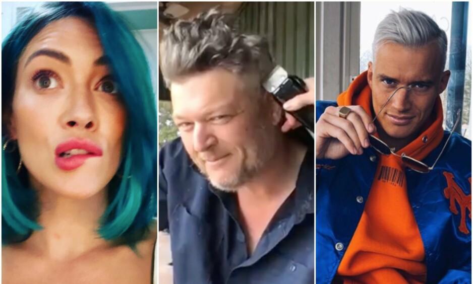 FORANDRING FRYDER?: Med stengte frisørsalonger har kjendisene blitt nøtt til å ta saken i egne hender. Ikke alle blir fornøyd med resultatet, derimot. Foto: Skjermbilder fra Instagram