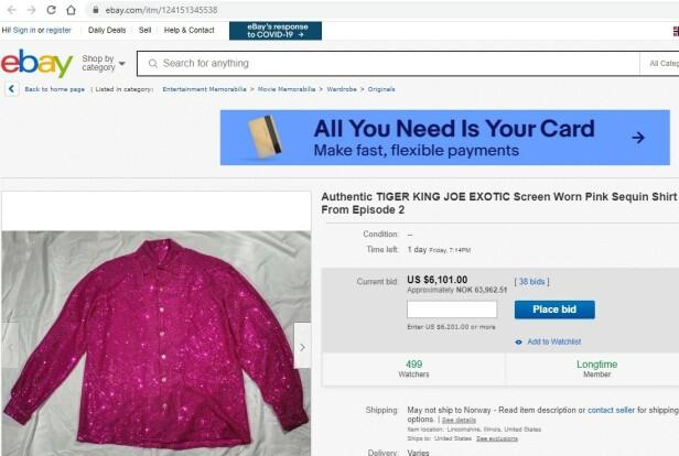 TIL SALGS: Joe Exotics glitrende paljettskjorte kan nå bli din. Faksimile: ebay.com