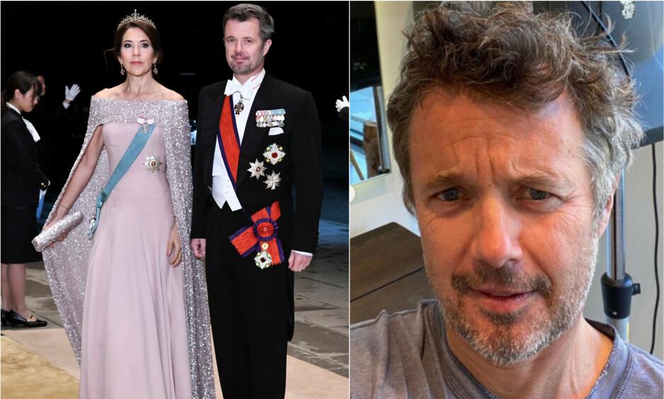 FÅR SKRYT: Kronprins Frederik delte nylig et bilde av at han har fått fikset på sveisen etter at Danmarks frisørsalonger har vært stengt i flere uker. Det får han skryt for. Her med kona Mary (t.v.), og før han lot lokkene falle. Foto: NTB Scanpix/ Det danske kongehus