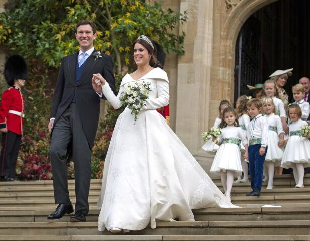 MANN OG KONE: Alles øyne var rettet mot Windsor Castle da Jack og Eugenie ga hverandre sitt ja. Foto: NTB Scanpix