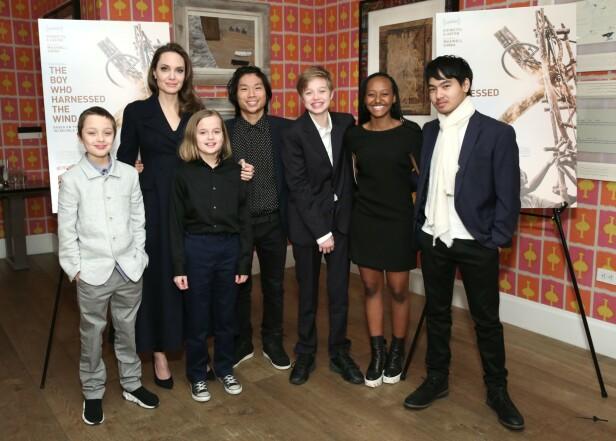 SEKS BARN: Angelina Jolie har sammen med eksmannen hele seks barn. Fra venstre ser du tvillingene Knox og Vivienne, Pax, Shiloh, Zahara, og Maddox. Foto: NTB Scanpix
