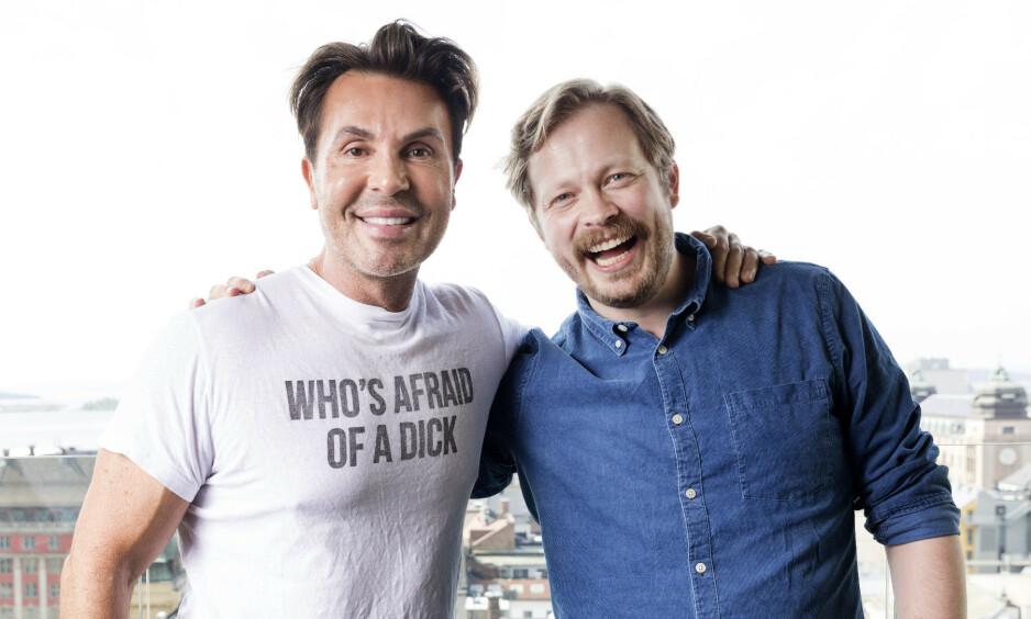 BLIR TOBARNSFAR: Einar Tørnquist blir pappa igjen. Nå har han avslørt kjønnet. Her med podkast-makker Jan Thomas. Foto: NTB Scanpix