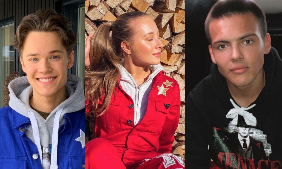KJENDISRUSSEN: Tv-profil Magnus Nordlund, Youtube-stjerne Jennie Sofie Lie Pickl og tv-profil Noah Vasstrand er alle russ i år. Pandemien sørger åpenbart for en annerledes russetid, men hvordan feirer de egentlig? Foto: Privat