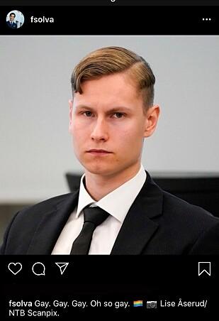 <strong>SLETTET INNLEGG:</strong> Dette innlegget slettet Solvang fra Instagram etter kort tid. Foto: Skjermdump/Instagram