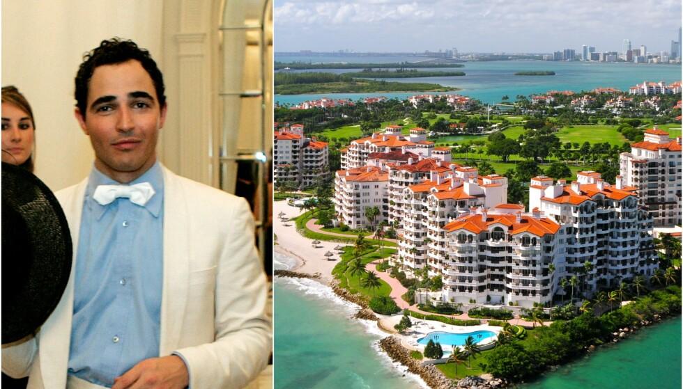 LUKSUSØY: Fisher Island utenfor Miami i Florida huser et stort antall luksusleiligheter. Til venstre er motedesigner Zac Posen avbildet i forbindelse med en motevisning i Vanderbilt Mansion på øya i 2007. Foto: NTB Scanpix