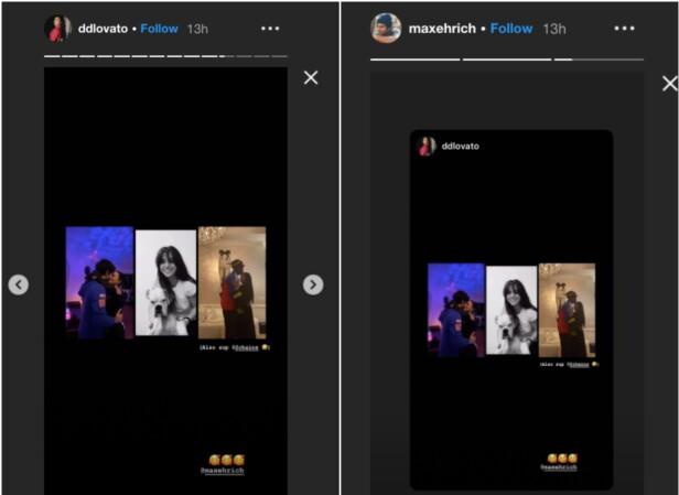 <strong>FORELSKET:</strong> Demi Lovato og Max Ehrich bekrefter at de er kjærester med kyssebilde (t.v) på sosiale medier etter at de dukket opp sammen i musikkvideoen til Grande og Bieber. Foto: Grab fra Instagram