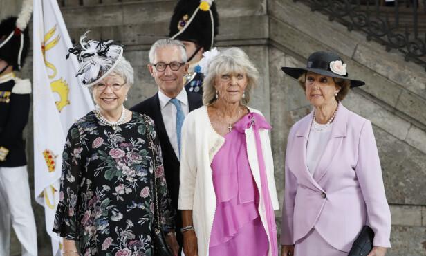 SØSTRE: Her er prinsesse Birgitta med søstrene Désirée og Christina i kronprinsesse Victorias 40-årsdag i 2017. Foto: NTB Scanpix