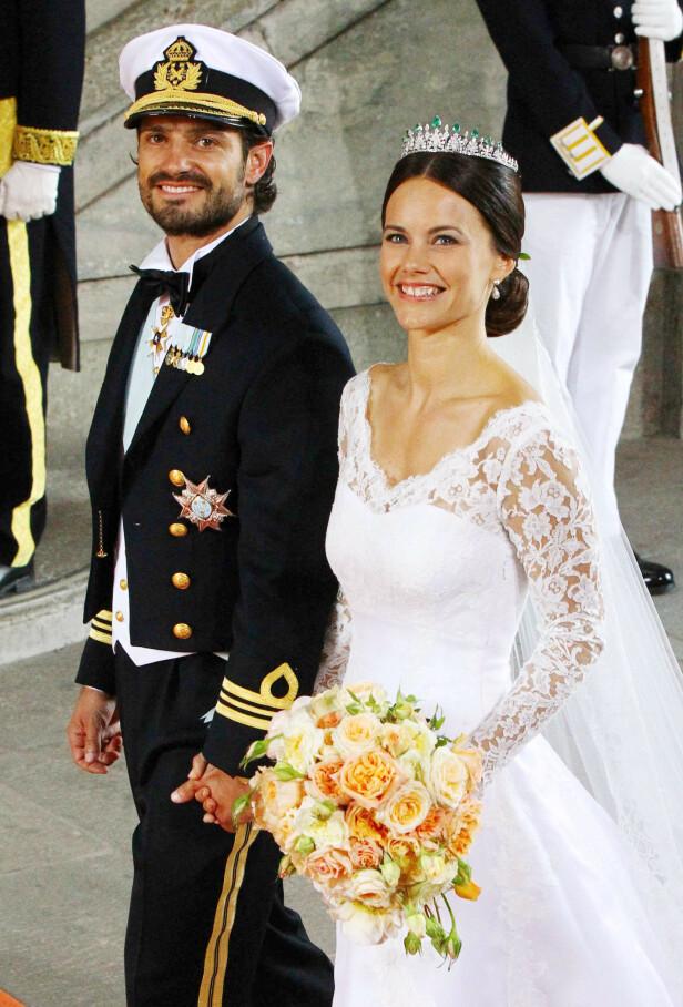 <strong>GIFTET SEG:</strong> I juni i år er det fem år siden prins Carl Philip og Sofia giftet seg. Her er de sammen på bryllupsdagen 13. juni 2015. Foto: NTB Scanpix