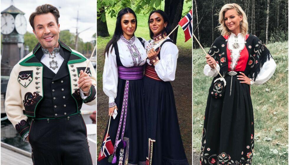 BUNADSFIN: Kjendisstylist Jan Thomas, tvillingene Vita og Wanda Mashadi og modell Kathrine Sørland er blant dem som finner fram bunaden på 17. mai. Foto: TV 2 / Privat