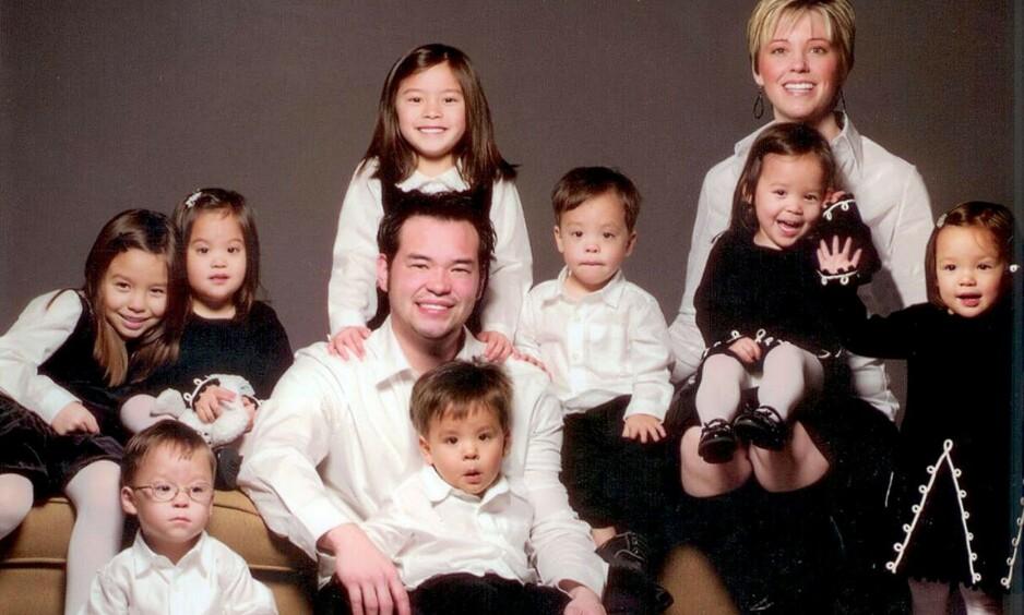 BURSDAGSBARN: Forrige helg fylte sekslingene Aaden Jonathan, Collin Thomas, Joel Kevin, Leah Hope, Alexis Faith og Hannah Joy 16 år. Her er hele storfamilien samlet. Foto: NTB Scanpix