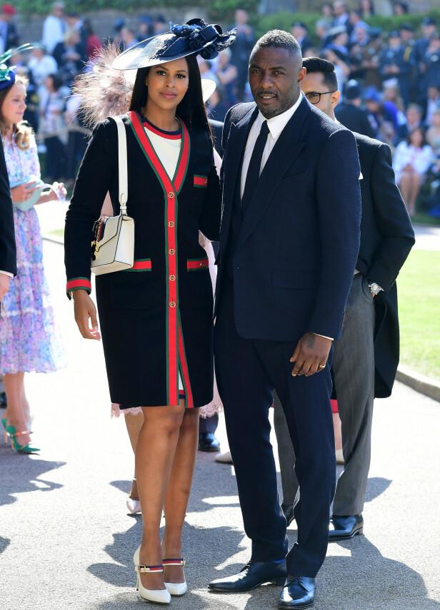 GJESTER: Idris Elba and Sabrina Dhowre var gjester i Meghan og Harrys bryllup i 2018. Foto: NTB scanpix