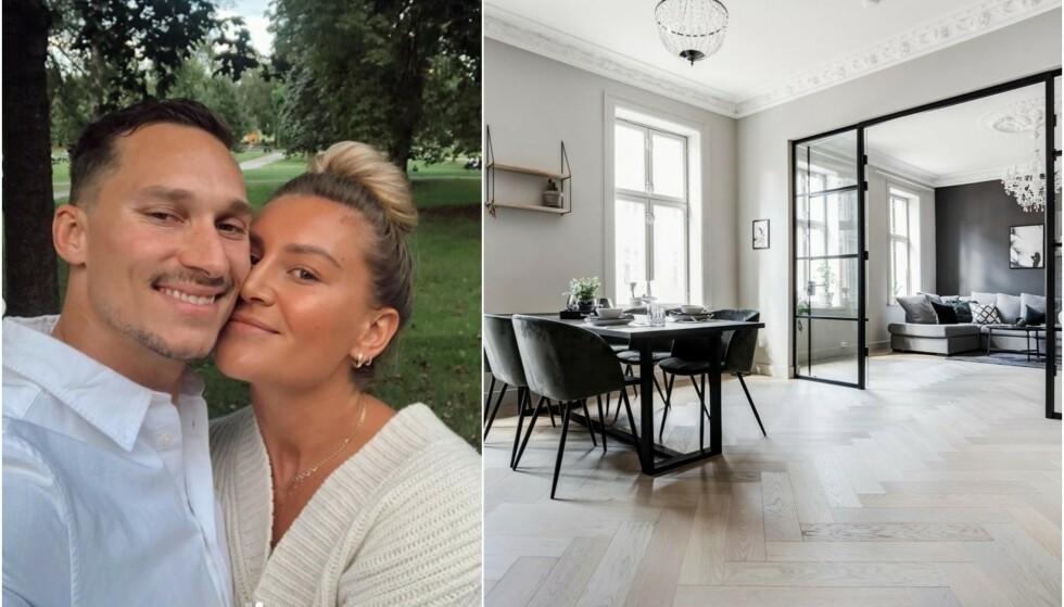 SELGER LEILIGHETEN: Håndballspiller Amanda Kurtovic og den tidligere ishockeyspilleren Brede Csiszar selger leiligheten sin på Grünerløkka. Foto: Privat/ Stian Frøysang