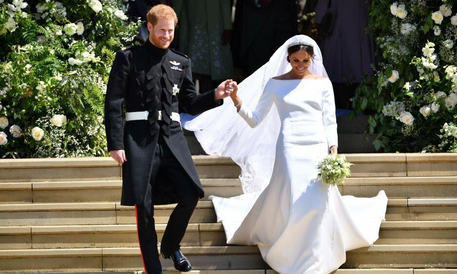 BRYLLUPSDAG: Forrige uke feiret prins Harry og hertuginne Meghan to års bryllupsdag. Her avbildet i bryllupet utenfor St. Georges kapell på Windsor Slott. Foto: NTB scanpix