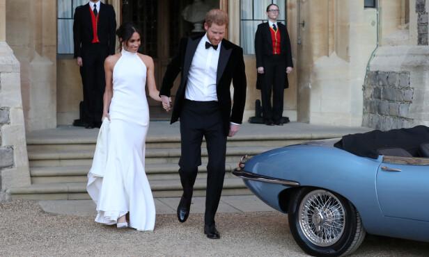 BYTTET: Dette er kjolen hertuginne Meghan hadde på seg på etterfesten. Foto: NTB scanpix