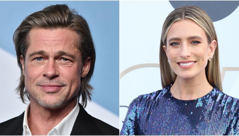 ROMANSERYKTER: Brad Pitt har møtt den prisvinnende tv-verten Renée Bargh på den røde løperen flere ganger. Nå hevder flere at det ligger mer bak den varme tonen mellom de to. Foto: NTB Scanpix
