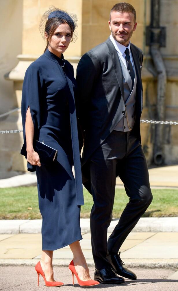 GJESTER: David og Victoria Beckham var selvskrevne gjester under prinsebryllupet i 2018. Foto: NTB scanpix