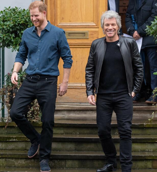 SPILTE INN LÅT: Prins Harry og Jon Bon Jovi avbildet sammen tidligere i år. Foto: NTB scanpix