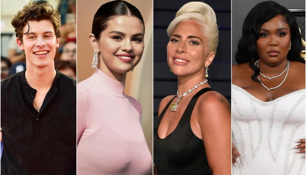 LÅNTE UT KONTOEN: Shawn Mendes, Selena Gomez, Lady Gaga og Lizzo er blant flere internasjonale stjerner som har lånt bort Instagram-kontoen sin. Foto: NTB scanpix