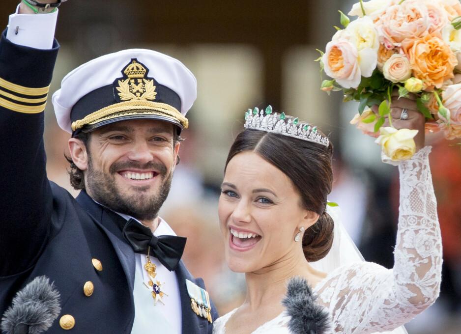 <strong>BRYLLUPSDAG:</strong> Prins Carl Philip og prinsesse Sofia feirer lørdag fem års bryllupsdag. Foto: NTB scanpix