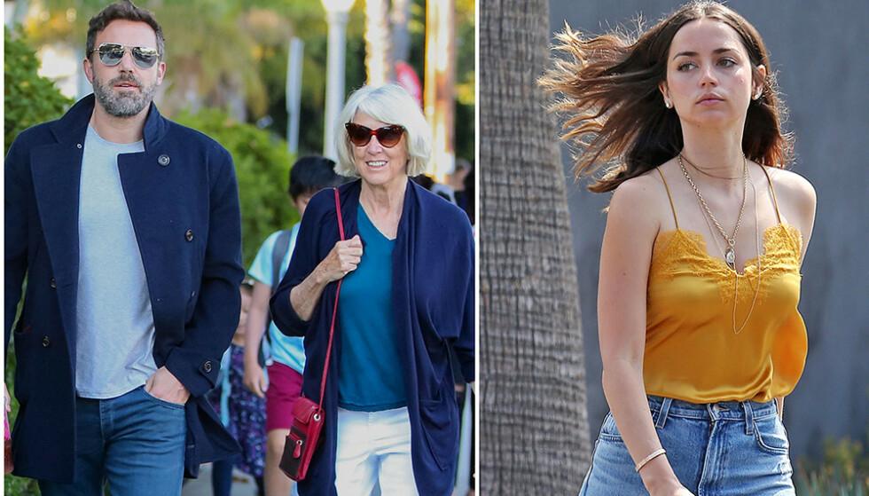 INTRODUSERT FOR SVIGERMOR: Ben Affleck (47) og moren, Christine Anne Boldt, var nylig på en utflukt med Afflecks nye kjæreste, Ana de Armas (32). Foto: NTB Scanpix