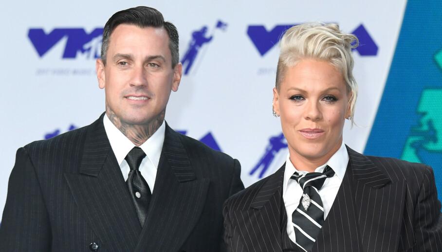 GODT GIFT: I 14 år har Pink og Carey Hart vært ektepar. Nå forklarer førstnevnte hvordan de klarte å redde det turbulente ekteskapet. Foto: NTB Scanpix