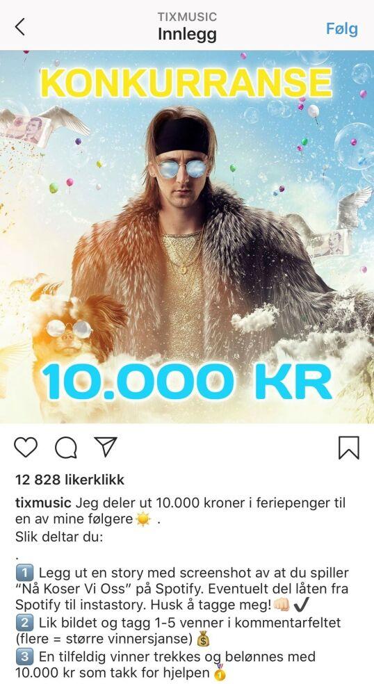STIKK I STRID: TIXs konkurranse er stikk i strid med instagrams konkurranseregler, mener Frode Elton Haug, juridisk direktør i Forbrukertilsynet. Foto: Skjermdump