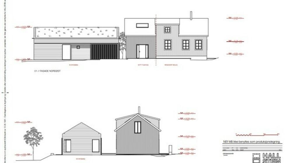PLANEN: Skissetegningen viser hvordan prinsen ønsker å bygge om huset han gikk til innkjøp av på Unstad i fjor. Foto: Hallstein AS/Vestvågøy kommune