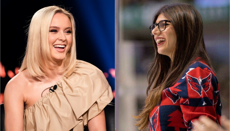 FÅR KRITIKK: Den svenske popstjerna Zara Larsson slapp nylig låta «Love Me Land», noe som fikk eks-pornoskuespilleren Mia Khalifa (til høyre) til å reagere. Foto: NTB Scanpix