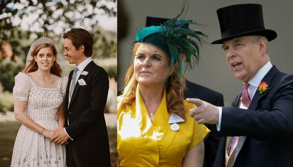 IKKE MED PÅ BILDENE: Prinsesse Beatrices foreldre, Sarah Ferguson og prins Andrew, er ikke å se på de offentliggjorte bryllupsbildene. Foto: NTB Scanpix
