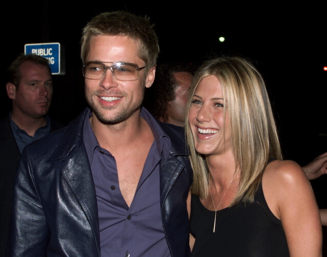 HEKTISK PLAN: Det ble mange premierer for paret året etter at de giftet seg. Her i forbindelse med «Rock Star», som Aniston spiller i. Foto: NTB Scanpix