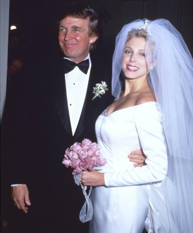 NYTT BRYLLUP: Allerede året etter den første skilsmissen giftet Donald Trump seg på nytt - med Marla Maples. Foto: NTB scanpix