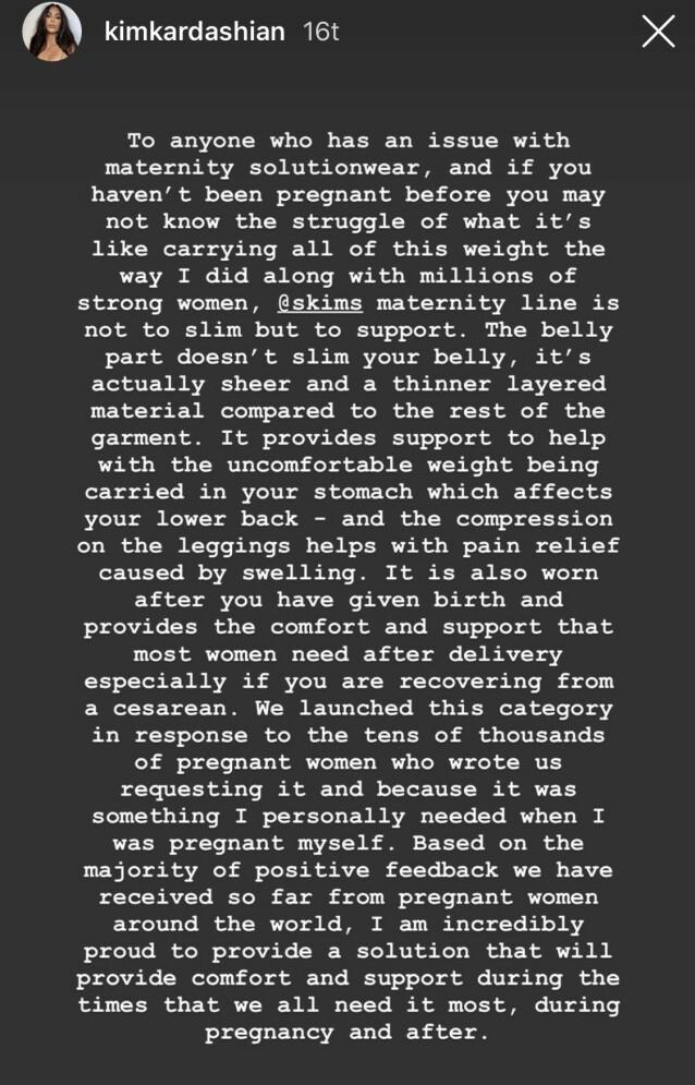 UTTALELSE: Dette skrev Kardashian til følgerene sine etter kritikken. Foto: Skjermdump