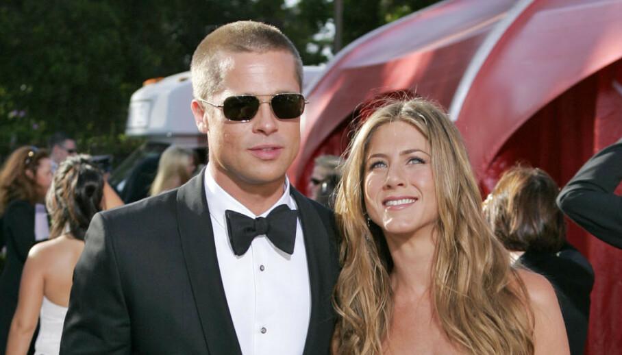 <strong>SUPERPAR:</strong> Det tidligere superparet Jennifer Aniston (51) og Brad Pitt (56) ble gjenforent på skjermen i forrige uke - men det har ikke falt i god jord hos alle. Foto: NTB