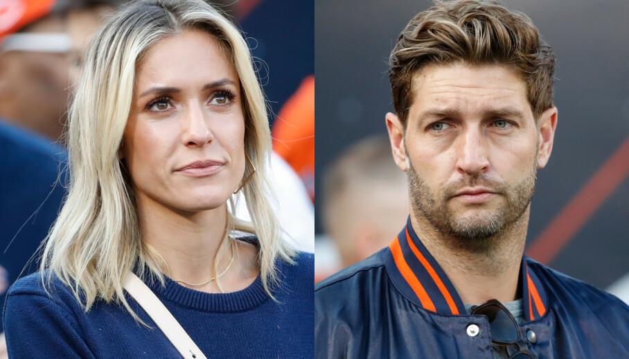 TØFF AVGJØRELSE: Kristin Cavallari beskriver skilsmissen med Jay Cutler som den tyngste avgjørelsen hun noensinne har tatt. Her er de to avbildet - på hvert sitt bilde - på fotballkamp i Chicago i september 2019. Foto: Splash News /NTB