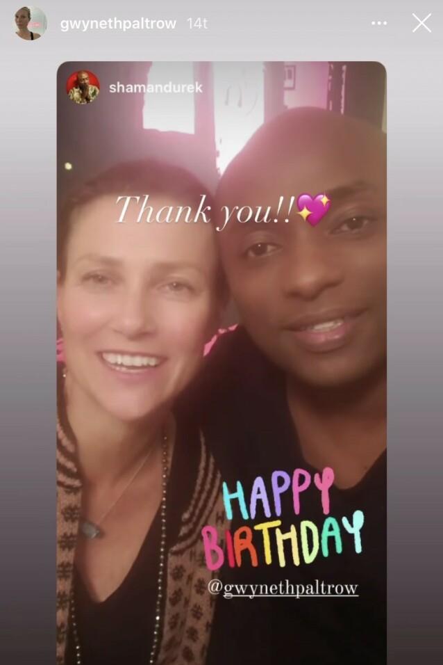 GRATULERER: Prinsesse Märtha Louise og kjæresten Durek Verrett var blant dem som gratulerte Hollywood-stjernen med den store dagen. Foto: Skjermdump fra Instagram/gwynethpaltrow