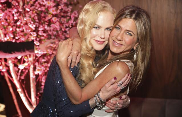 VURDERTE PENSJON: Aniston innrømmer i en podkast at hun vurderte å pensjonere seg som skuespiller. Her er hun med skuespillerkollegaen Nicole Kidman. Foto: Colin Young-wolff / INVISION / NTB
