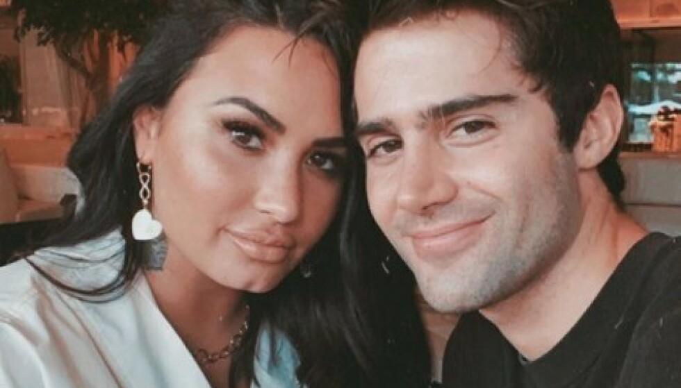 <strong>BRUDD:</strong> Demi Lovato og Max Ehrich var forlovet i et par måneders tid. Nå virker det å være svært dårlig stemning mellom dem. Foto: Skjermdump/privat