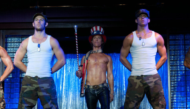 <strong>KJEKKE MENN:</strong> Alex Pettyfer, Matthew McConaughey og Channing Tatum i «Magic Mike». Foto: Moviestore/REX/NTB