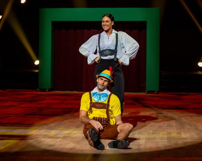 <strong>Pinocchio:</strong> Thomas Alsgaard fikk bryne seg som skuespiller under kveldens sending.  Foto: Thomas Andersen / TV 2